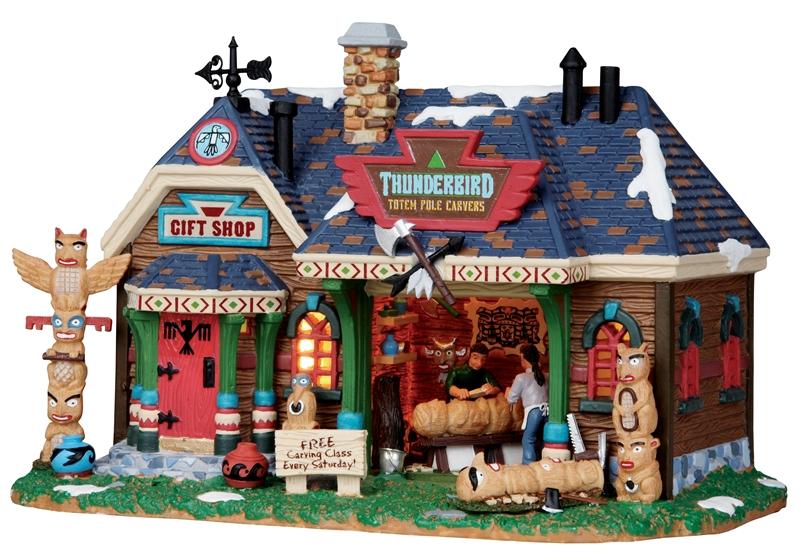 Thunderbird Totem Pole Carvers Lemax Village