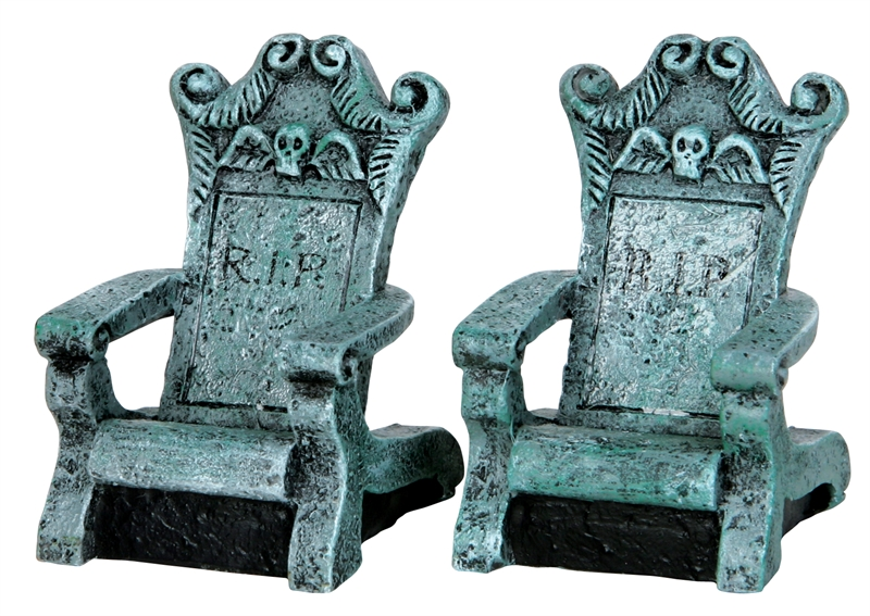 Tombstone Chairs, Set Of 2 Lemax Village