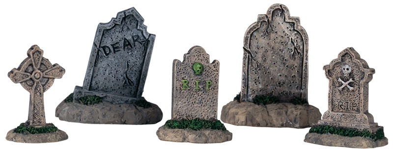 Tombstones, Set Of 5 Lemax Village
