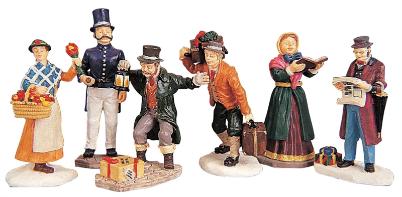 Townsfolk Figurines, Set Of 6 Lemax Village