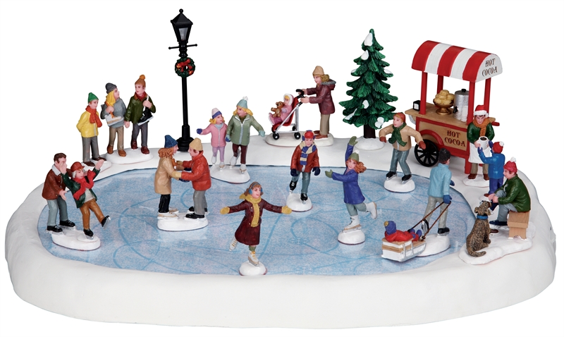 Village Skating Pond With Sound, Set Of 18 Lemax Village