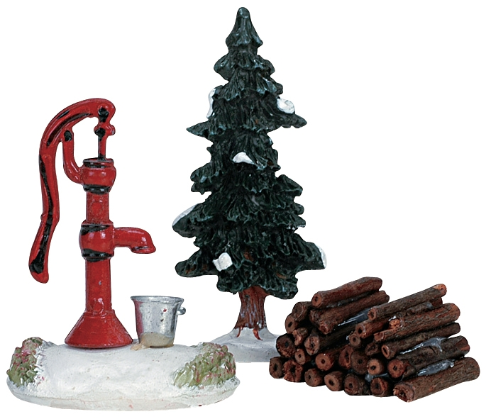 Water Pump, Tree & Firewood, Set Of 3 Lemax Village