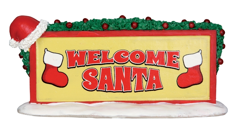 Welcome Santa Sign Lemax Village