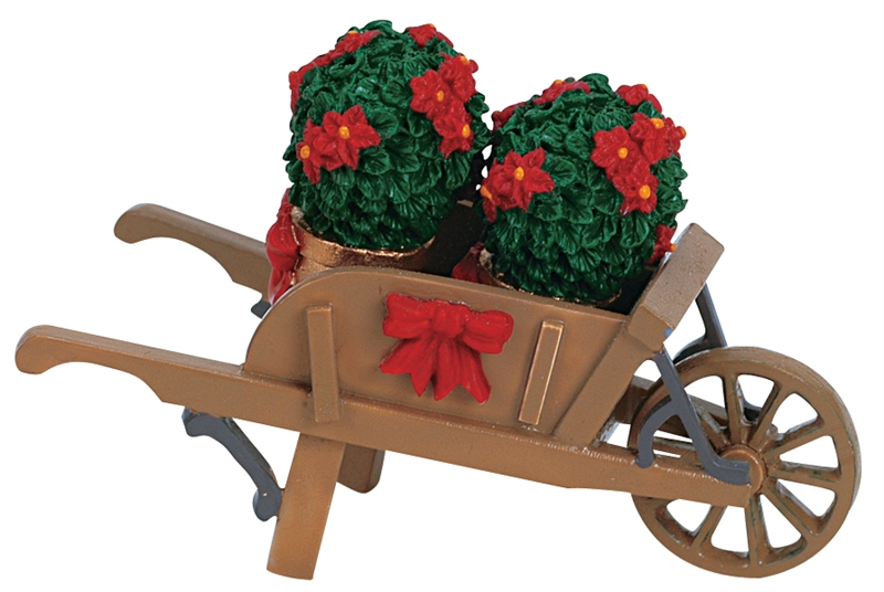 Wheelbarrow With Poinsettias Lemax Village