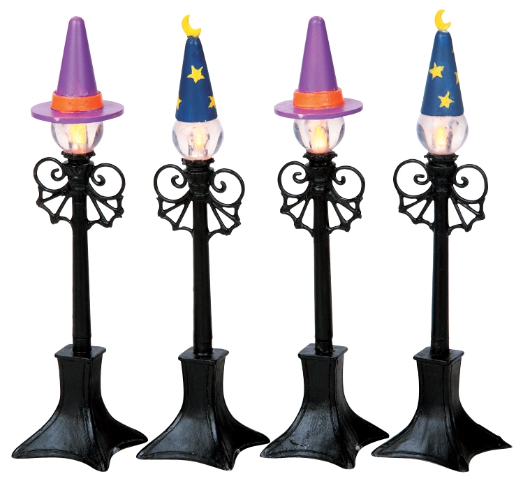 Witch & Wizard Street Lamps, Set Of 4 Lemax Village