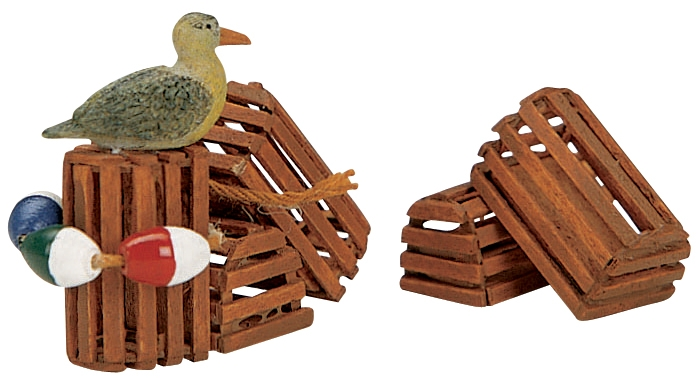 Wooden Lobster Pots, Set Of 3 Lemax Village