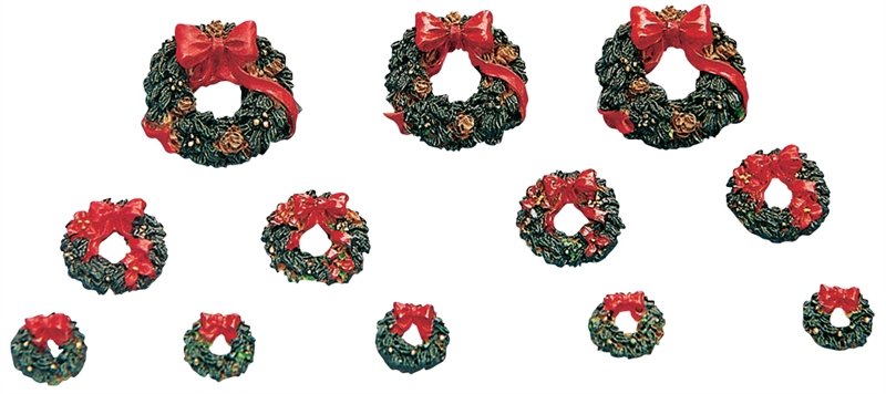 Wreaths With Red Bow, Set Of 12 Lemax Village